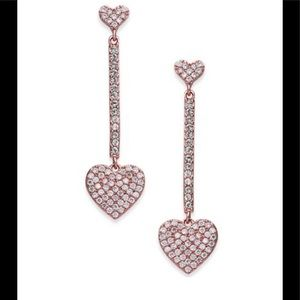 Kate Spade Rose Gold Pavé Heart Drop Earrings